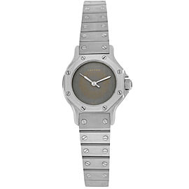 Cartier Santos Octagon Ladies Stainless Steel 24MM Automatic Watch