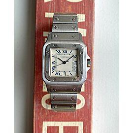 Vintage Cartier Santos 80s Quartz White Blue Roman Numeral Dial Steel Watch