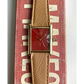 Vintage Cartier Tank Manual Wind Red Laquered Dial 18K Gold Electroplated Watch
