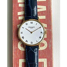 "Patek Philippe 18K Yellow Gold 90s White ""Porcelain"" Roman Numeral Dial Watch"