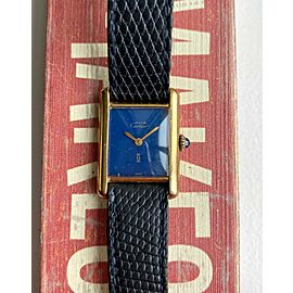 Vintage Cartier Tank Ladies Manual Wind Blue Laquer Dial w/ Box and Papers Watch