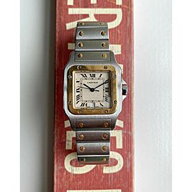 Vintage Cartier Santos 80s Two Tone Quartz Roman Numeral Cream Dial Watch