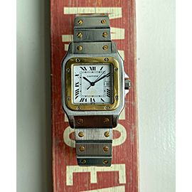 Vintage Cartier Santos 80s Automatic Two Tone White Roman Numeral Dial Watch