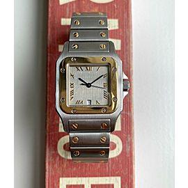 Vintage Cartier Santos 80s Quartz Two Tone Rare Taupe Roman Numeral Dial Watch