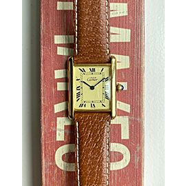 Vintage Cartier Tank Lemon Roman Numeral Dial Quartz 18K Electroplate Case Watch