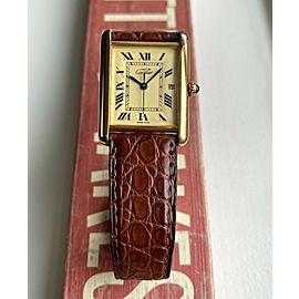 Cartier Tank Ref 2413 Lemon Roman Numerals Quickset Date 18K Electroplated Watch