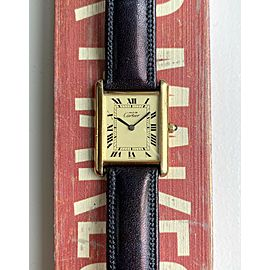 Vintage Cartier Tank Lemon Roman Numeral Dial Quartz 18K Electroplated Watch