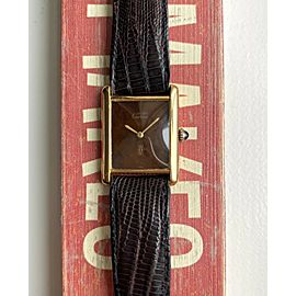 """Vintage Cartier Tank Manual Wind Wood """"Spider"""" Dial 18K Gold Electroplated Watch"""