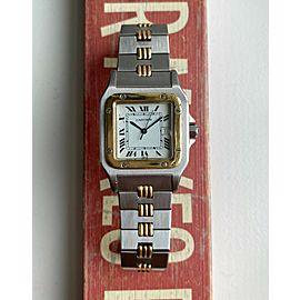 Vintage Cartier Santos 70s Automatic Two Tone White Roman Numeral Dial Watch