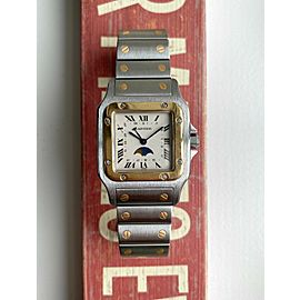 Cartier Santos Galbee 80s Two Tone Quartz Cream Roman Numeral Moonphase Watch