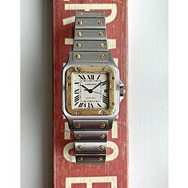 Cartier Santos Two Tone Automatic Guilloche Roman Numeral Dial Quickset Watch