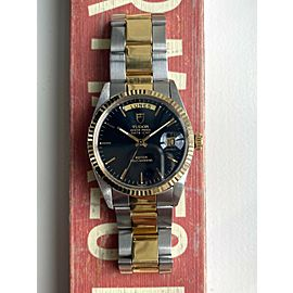 Tudor Oyster Prince Dateday Double Quickset Two Tone Glossy Black Dial Watch