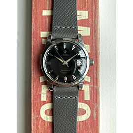 Vintage Omega Seamaster Calendar 50s Automatic Glossy Black Dial Steel Watch