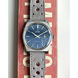 Vintage Omega Geneve Automatic Cal 1481 Vertical Stripe Blue Dial Quickset Watch