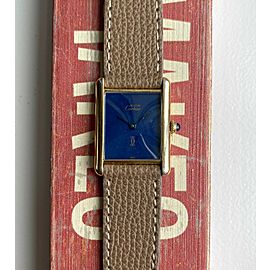 Vintage Cartier Tank Quartz Blue Lacquered Dial 18K Gold Electroplate Case Watch