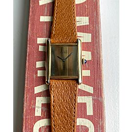 Vintage Cartier Tank 70s Manual Wind Tri Tone Dial 18K Gold Electroplated Watch