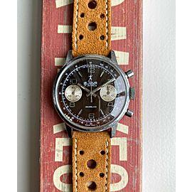 Vintage Le Jour 70s Chronograph Manual Wind Tropical Dial Chrome Case Watch