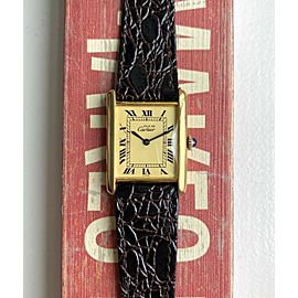 Vintage Cartier Tank Manual Wind Lemon Roman Numeral Dial 18K Electroplate Watch