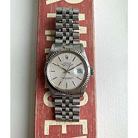 Rolex Datejust 80s Ref 16014 Silver Tapestry Dial Steel Case Quickset Date Watch