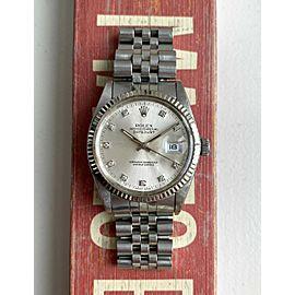Rolex Datejust Ref 16014 Silver Factory Diamond Dial Oyster Case Quickset Watch