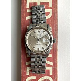 Vintage Rolex Datejust 1601 Automatic 36mm Silver Wideboy Dial Steel Case Watch