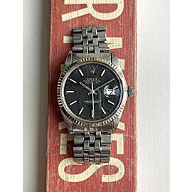 Vintage Rolex Datejust 1601 70s Automatic Matte Black Dial Oyster Case Watch