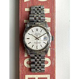 Rolex Datejust 80s 16014 Silver Linen Dial Oyster Case Quickset w/