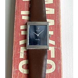 Vintage Rolex Cellini 70s 18K White Gold Tank Manual Wind Blue Mirror Dial Watch