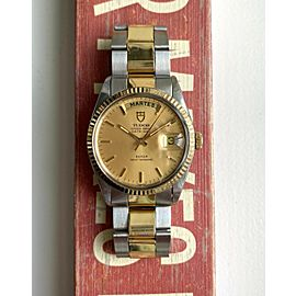 Tudor Oyster Prince Dateday 80s Quickset Champagne Sunburst Dial Two Tone Watch