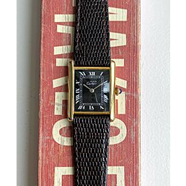 Cartier Tank Manual Wind Black Roman Numeral Dial 18K Electroplated Case Watch