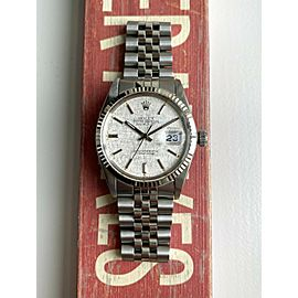 Rolex Datejust 80s Ref 16014 Silver Linen Dial Oyster Case Quickset Date Watch