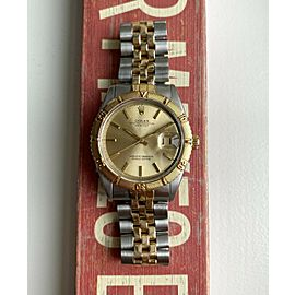 """Vintage Rolex Datejust 60s Ref 1625 """"Thunderbird"""" Two Tone Champagne Dial Watch"""
