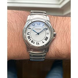 Cartier Santos Round Ref 1920 Automatic 33mm White Roman Numeral Dial Watch
