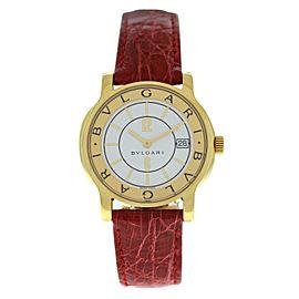 Bvlgari Solotempo ST35G Unisex 18K Yellow Gold 35MM Quartz Red Strap Watch