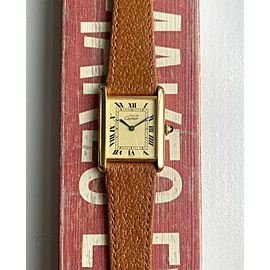Cartier Tank Manual Wind Lemon Roman Numeral Dial 18K Electroplated Case Watch