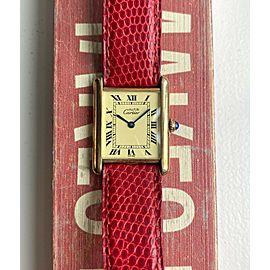 Vintage Cartier Tank Quartz Lemon Roman Numeral Dial 18K Electroplated Watch