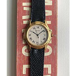 Cartier Cougar Rondo 18K Yellow Gold Cream Roman Numeral Dial Quartz Watch