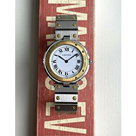 Cartier Woman's Santos 90s Round Quartz Two Tone White Roman Numeral Dial Watch
