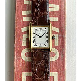 Vintage Ulysse Nardin Tank Manual Wind Roman Numeral Dial 14K Yellow Gold Watch