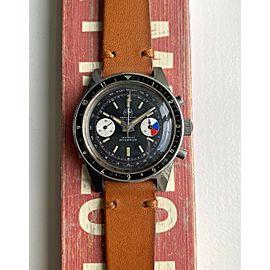 Vintage Ollech & Wajs Chronograph Oversized Manual Wind Black Dial Steel Watch