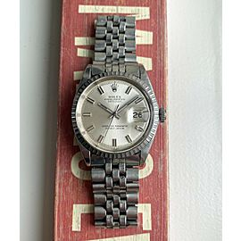 """Vintage Rolex 70s Datejust Automatic 36mm Silver """"Wideboy"""" Dial Steel Case Watch"""