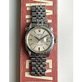 Vintage Rolex Datejust Ref 1601 60s Automatic Silver Sunburst Dial Steel Watch