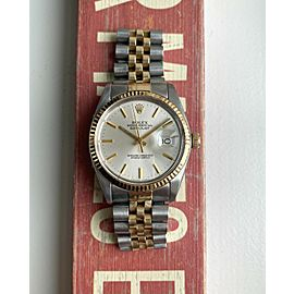 Rolex Datejust Ref 16013 Automatic Gold Two Tone Silver Dial Oyster Case Watch