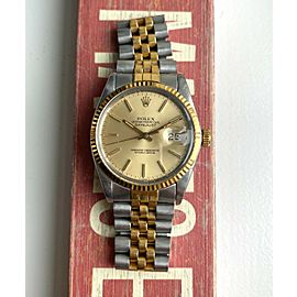 Rolex Datejust Ref 16014 Automatic Gold Two Tone Champagne Dial Quickset Watch