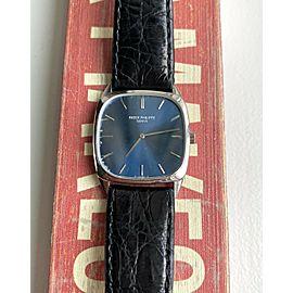Vintage Patek Philippe 18K White Gold 70s Ref 3566 Wind Blue Dial Watch