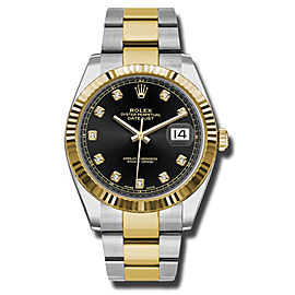 Rolex Two-Tone DateJust II 126333 bkdo Yellow Gold Black Diamond Dial Watch