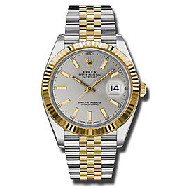 Rolex Two-Tone DateJust II 126333 sij Yellow Gold Silver Index Dial Watch