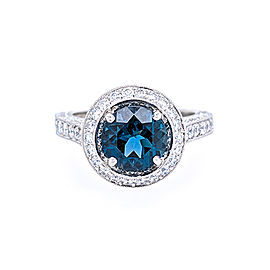 Jack Kelege KPR 363A Platinum London Blue Topaz and Diamonds Ring