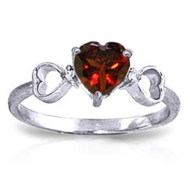 0.96 CTW 14K Solid White Gold Communication Garnet Diamond Ring
