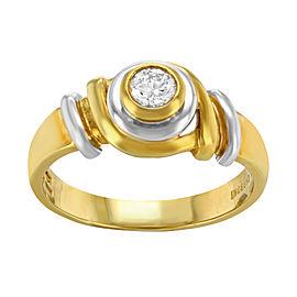 Salvini 18K Yellow & White Gold with 0.19ct Diamond Ring Size 8